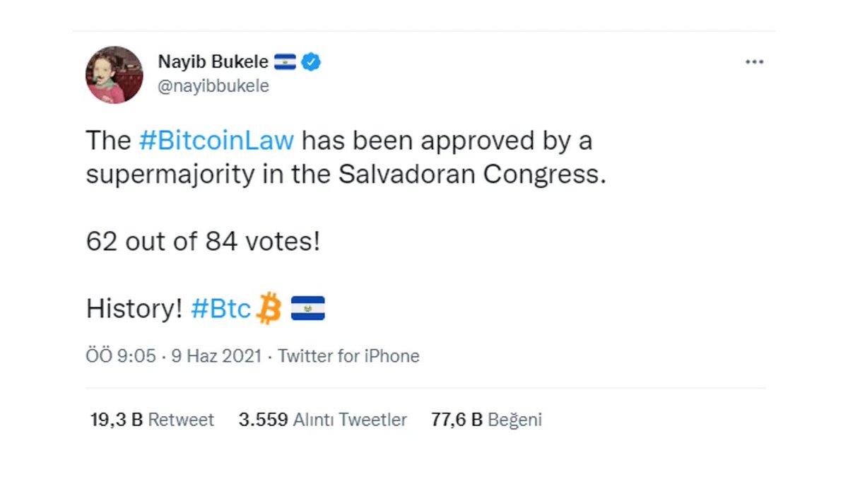 📌 El Salvador Başkanı, tweetini #NFT olarak satışa çıkardı.