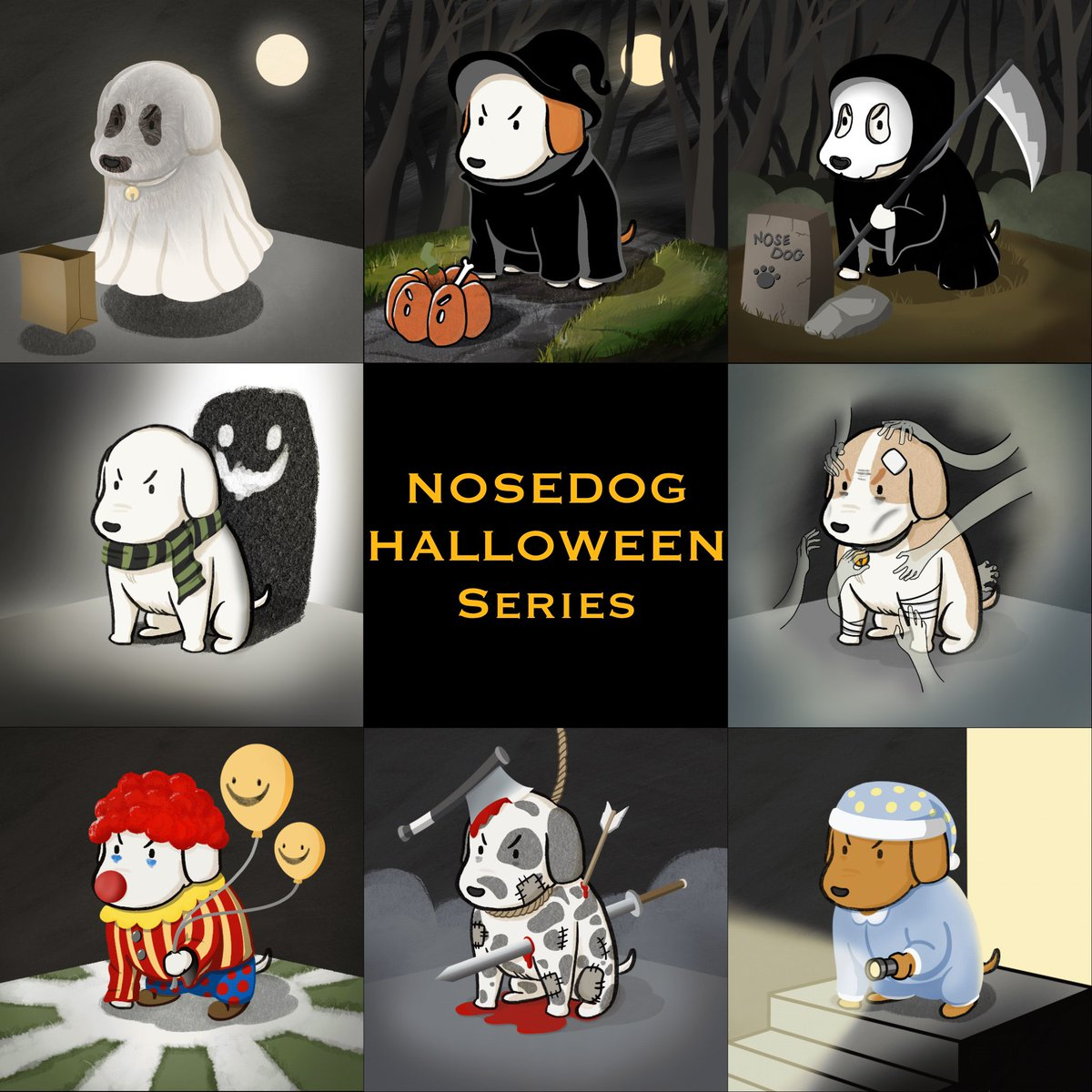 """NOSEDOG """"Halloween series"""" is available now  🧙🏻♀️🤡👻💀🎃😈🐶 (48/120)  Check it out here opensea.io/collection/nos…  #Halloween #NFTTHAILAND #NFTdrops #nftcollector #NFTcommunitiy"""