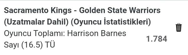 🇺🇲 #NBA75 - Stake 9  Harrison Barnes sayı 16.5 üst (1.78)  - İlk 2 karşılaşmada DeAaron Fox' un tutuk oyununda Harrison Barnes takımın sayı yükünü alıp 30 sayı ortalaması yakaladı. Hızlı ve tempolu bir oyun olduğu sürece Barnes'in 17 sayı bulması içten bile değil. Oran güzel.