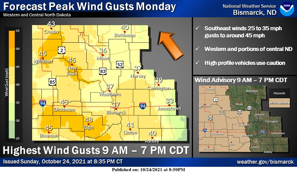 Windy through the day west Monday, increasing winds central by mid to late morning. Breezy Monday night with another breezy to windy day Tuesday over central and eastern ND. A Wind Advisory has been issued for western and portions of central ND from 9AM - 7PM Monday #NDwx #NDag