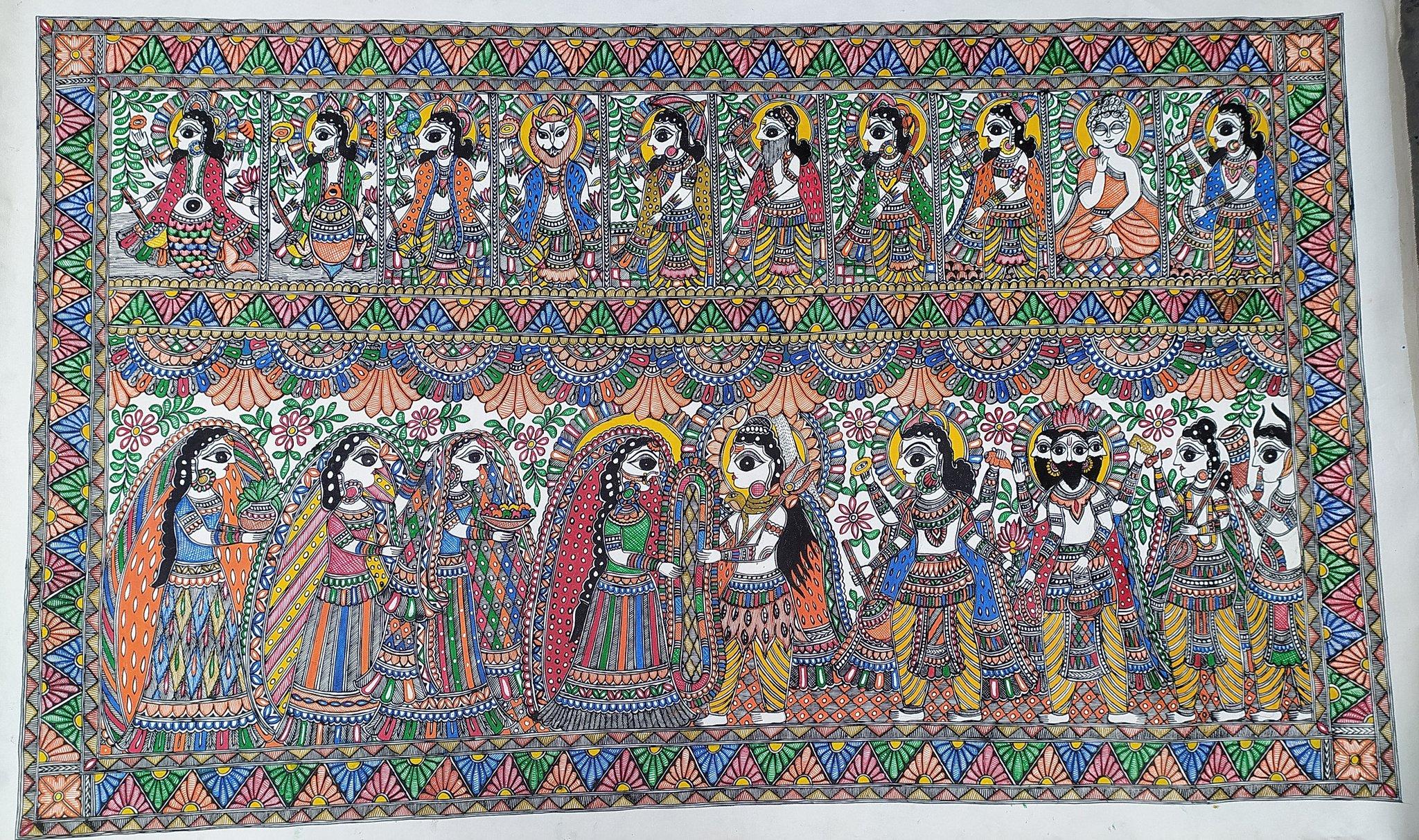 Canvas 3*5 fit painting creation  Madhubani Mithila Painting
