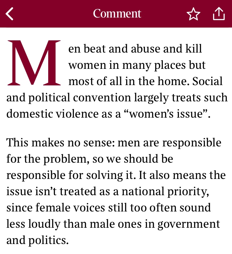 My latest Times column: Domestic violence isn't a women's issue. It's a men's problem that men must solve. thetimes.co.uk/article/5a0af1…