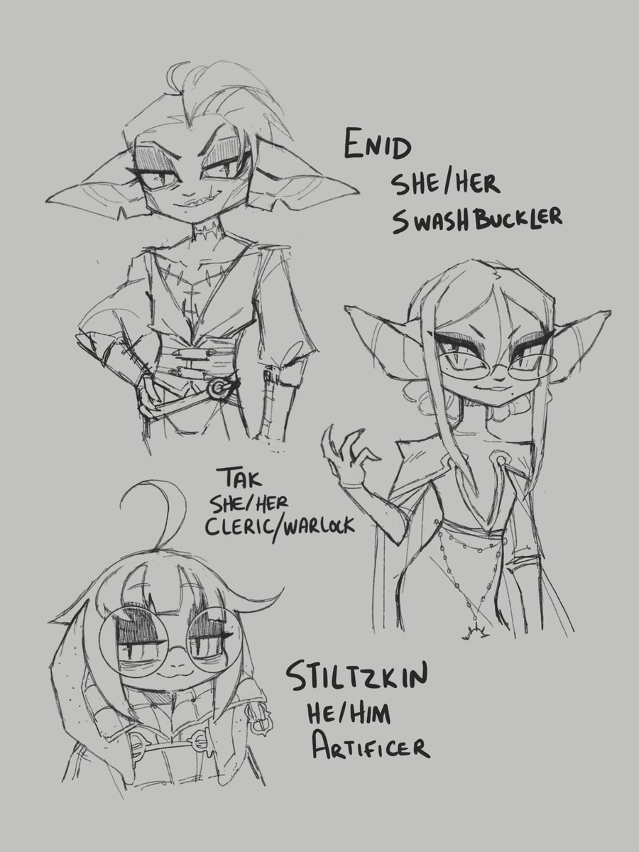 COMBO TIME  A RIVAL GOBLIN PARTY ENTERS THE FRAY. They've come to steal bounties and pull mean-spirited pranks, with their first target being Magi. They're mostly assholes and only slightly more capable.   Day 23 - Funny, Day 24 - Very Evil Villain  #Gobtober #gobtober2021