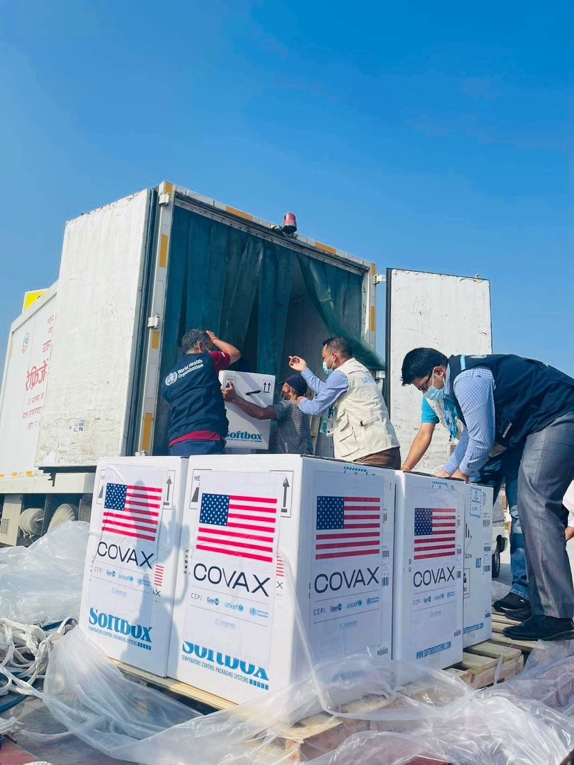 Just Arrived: 100,620 doses of Pfizer vaccine have just arrived in Nepal. These vaccines have been donated by the U.S. government to Nepal to fight COVID-19 in partnership with COVAX. Stay tuned for more. #InThisTogether