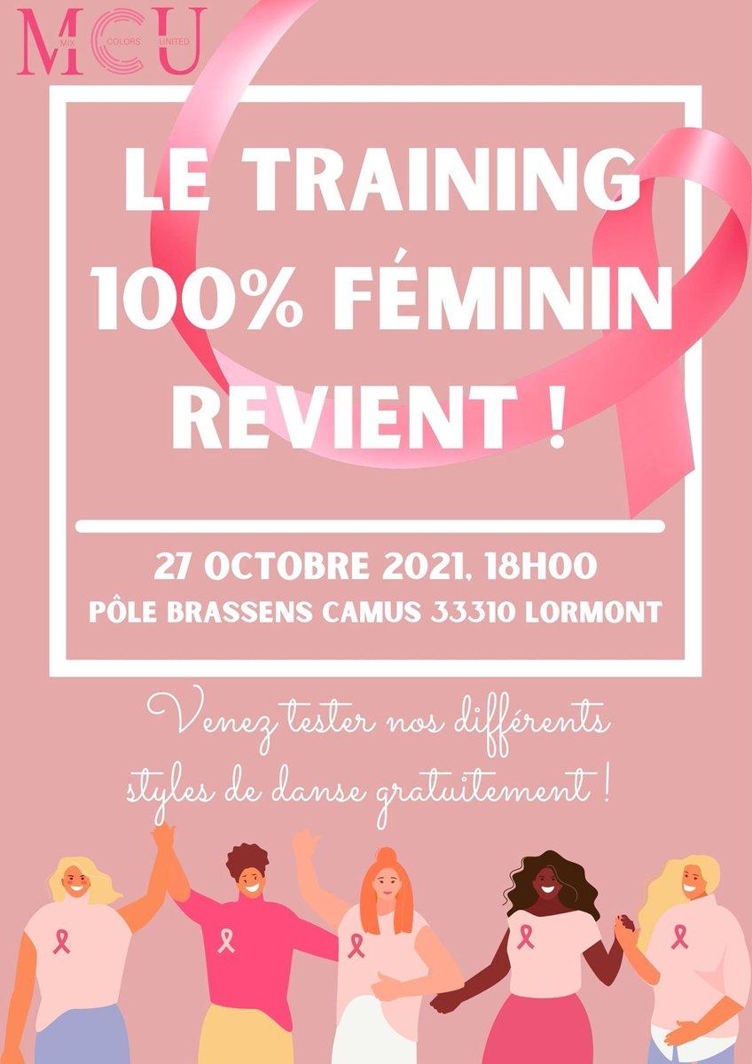 #OctobreRose à #Lormont ! Rdv ce soir au pôle Brassens Camus dès 18h pour un training 100 % féminin ! Une manifestation organisée par l'association MCU Bordeaux. #girly #danse #evenement #femme #training #Lormont #rivedroite https://t.co/e0tBZYGwnF