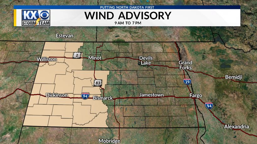 HEADS UP: Strong wind all day with SE gusts higher than 45 MPH at times. #ndwx