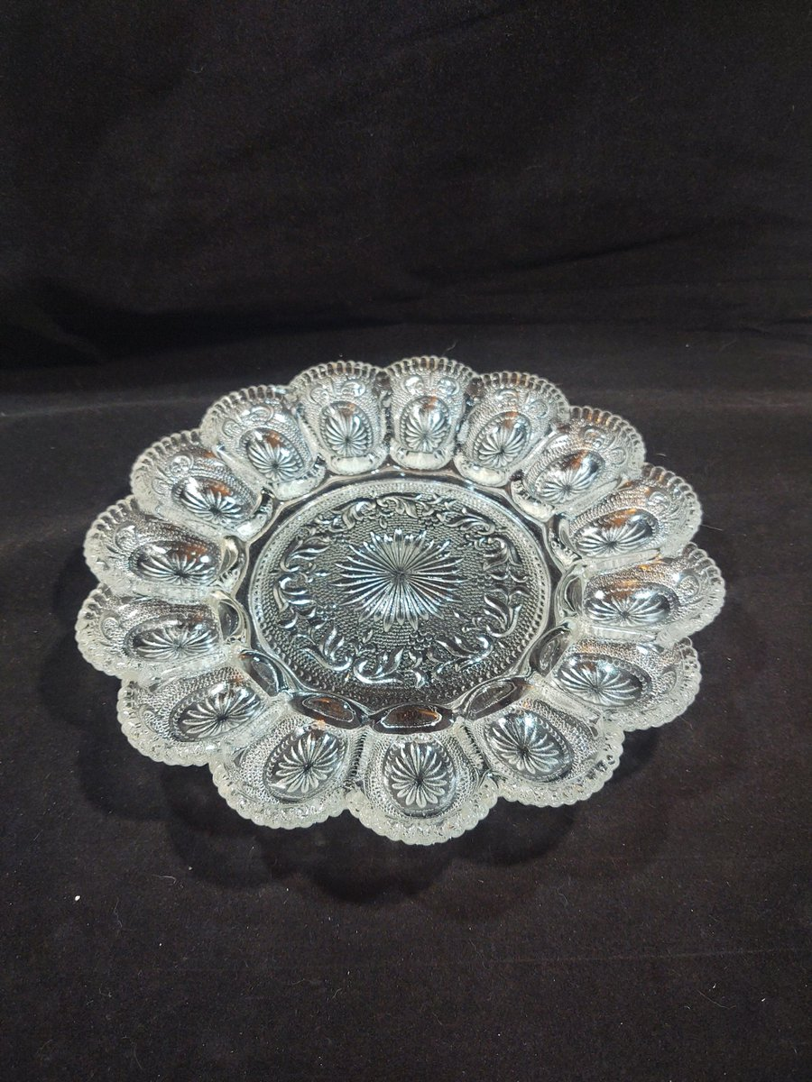 Excited to share the latest addition to my #etsy shop: American Concord Deviled Egg Server in Clear  #clear #wedding #thanksgiving #glass #easter #deviledeggs #scrollsandstarburt #medallions #eggplate