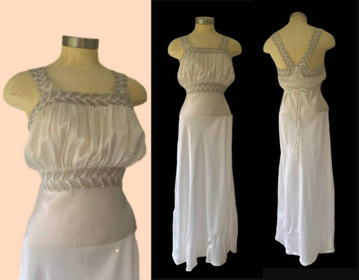 1940s Satin Lingerie Lace Gown  via @Etsy #1930s #1940s #gotvintage #etsyfinds #etsyshop #wedding #antiques #vintage