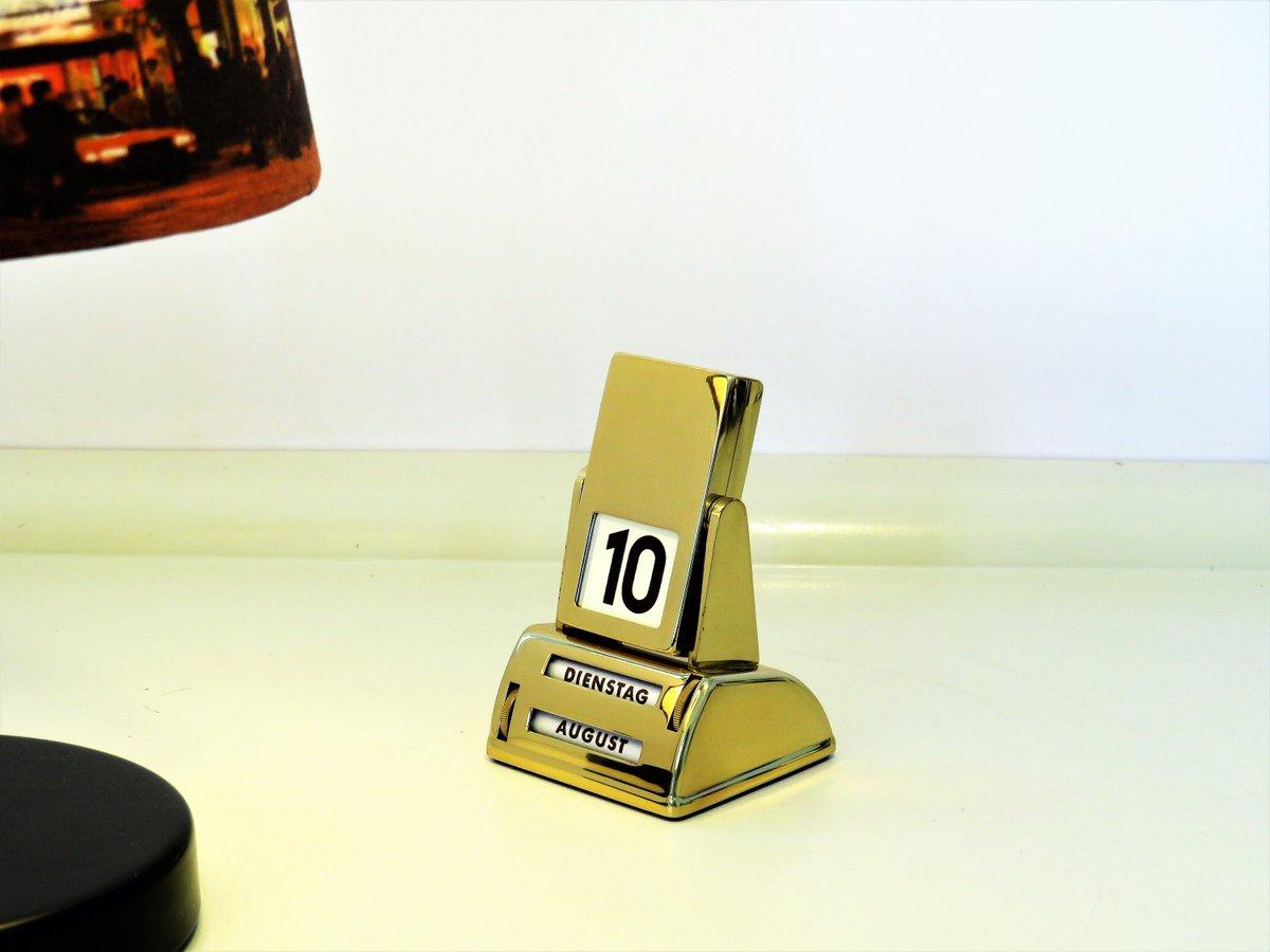 Vintage Desk Perpetual Calendar, Plated Golden Color Metal Flip French Perpetual Calendar, Reversible Desk Metal Calendar, Retro France, 70s  #FREESHIPPING #covid19 #Gifts #Retro #Wedding #Christmas #PerpetualCalendar