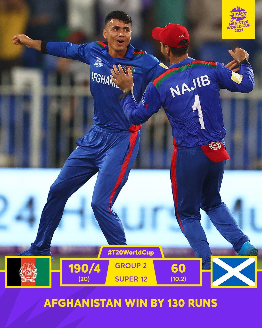 T-20 क्रिकेट विश्व कप में अफगानिस्तान ने अपने पहले मैच में स्कॉटलैंड को 130 रन को हराया