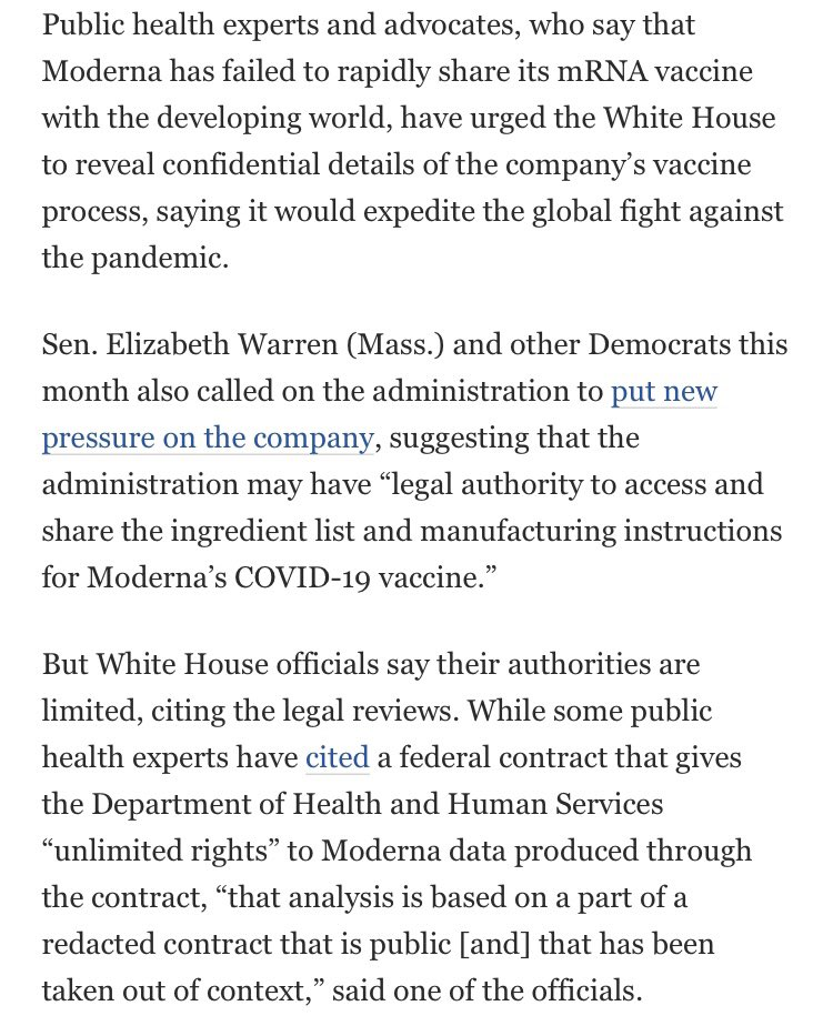 The White House has concluded that it can't unilaterally share Moderna's vaccine process, despite federal contracts that staked the company with billions.  washingtonpost.com/nation/2021/10…