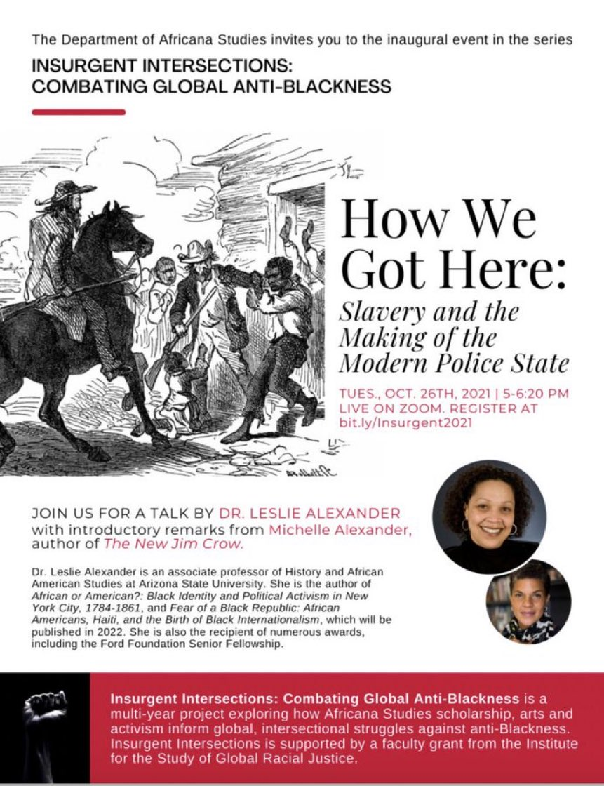 Ok everyone, this is happening TOMORROW!! I'm excited (and nervous) to share my new research on the history of policing…  Register here: bit.ly/Insurgent2021