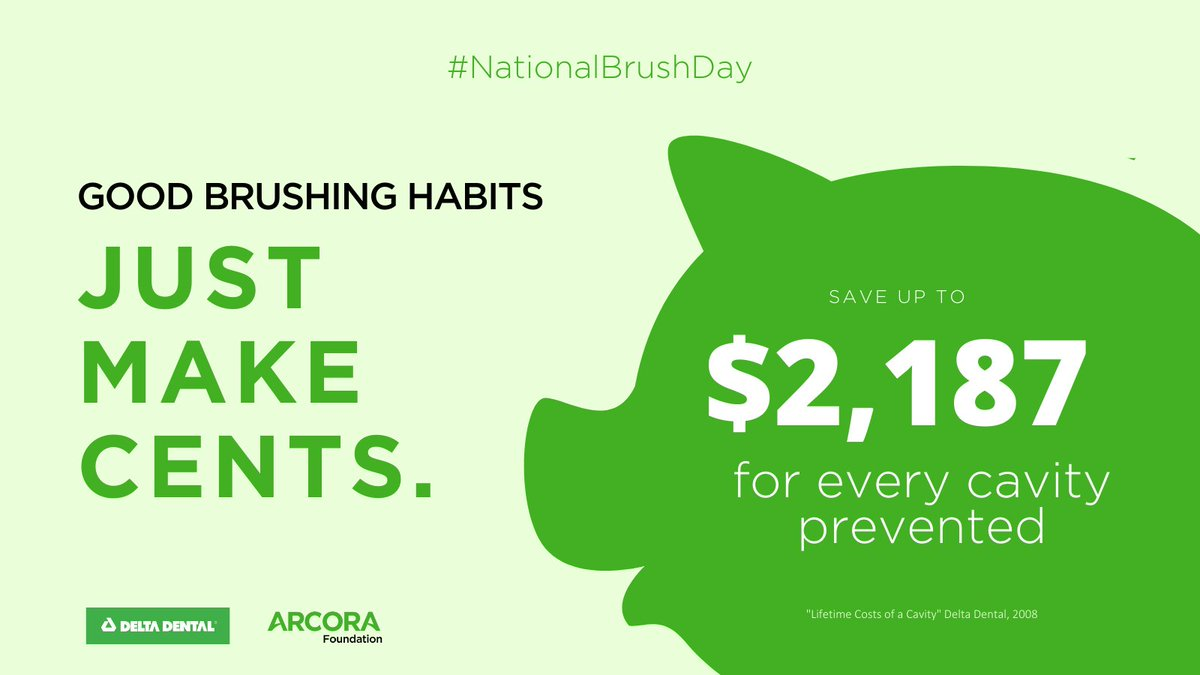 DYK that daily brushing and flossing can save you some serious $$$?! Even if you're diligent about seeing your dentist, these habits are key to preventing cavities and gum disease. #NationalBrushDay #PowerYourSmile  Download free #oralhealth materials➡ https://bit.ly/2ZjS8Ce