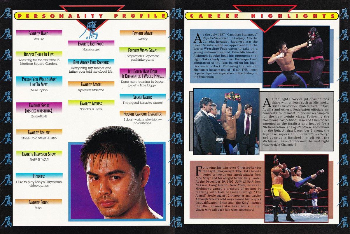 Today's WWF Personality Profile! Taka Michonoku from May, 1998. 🇯🇵 #WWF #WWE #WWFWrestling #Wrestling #TakaMichonoku