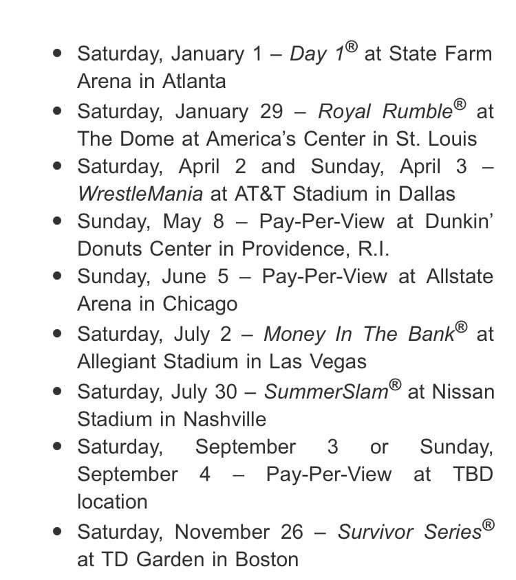 @WWE has released its pay-per-view schedule for 2022.  Will you be attending any of them? #wwe #wrestling #wrestlingalldayallnight