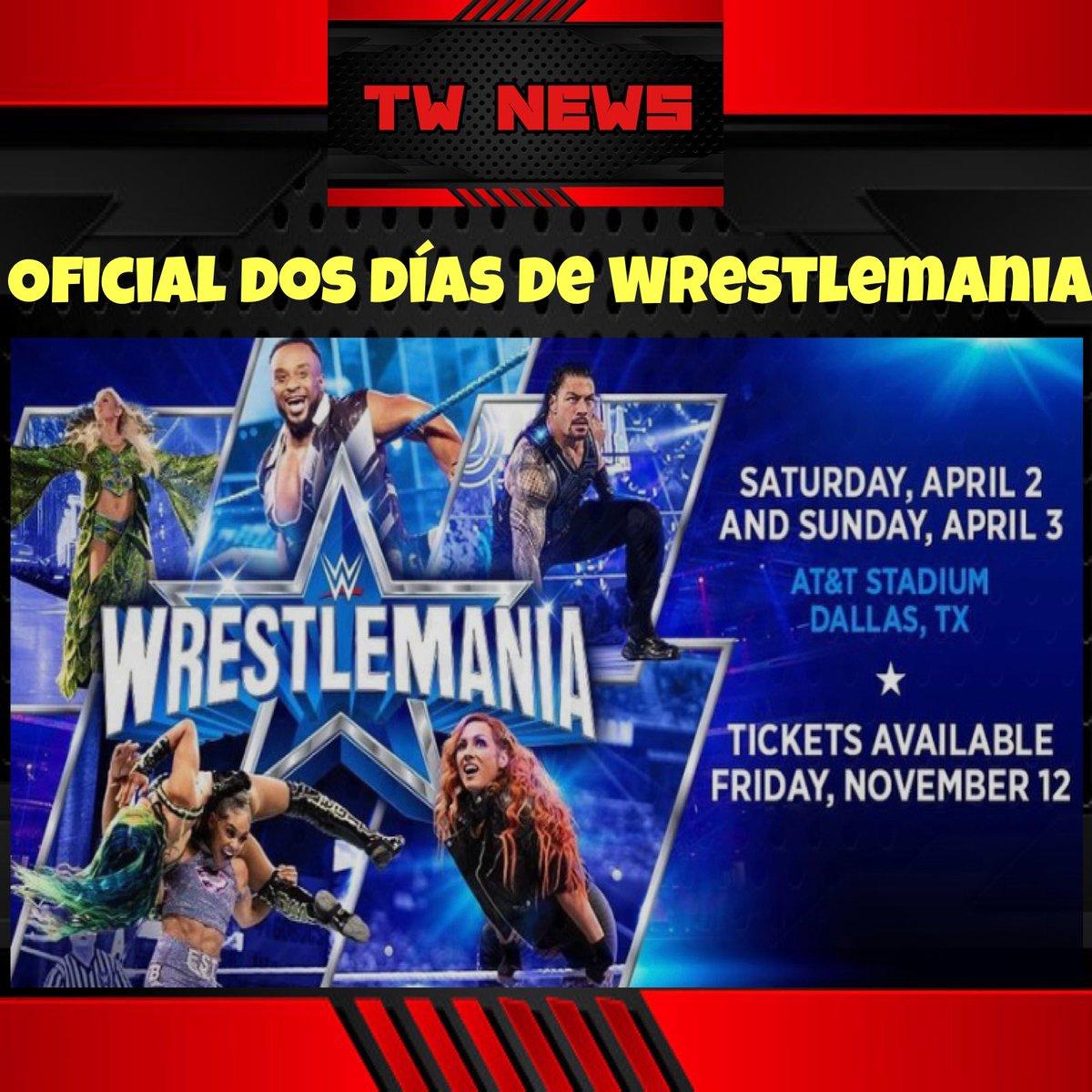 De manera oficial la #WWE anunció que el evento de Wrestlemania en el 2022 serán los días sábado 2 de abril y el domingo 3 de abril en el AT&T Stadium en Texas. La venta de boletos comienza el 12 de noviembre.  #trifulcamedia #WWERaw #SmackDown #luchalibre #wrestling