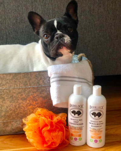 """""""I'm loving my new tangerine scented shampoo from @barklogic. It is non-toxic and makes me smell like orange blossoms. I almost don't mind taking a bath now. 😉 🛁#barklogic."""" Photo & words: Garden.state.frenchie.    #dog #puppy #pets #doglife"""