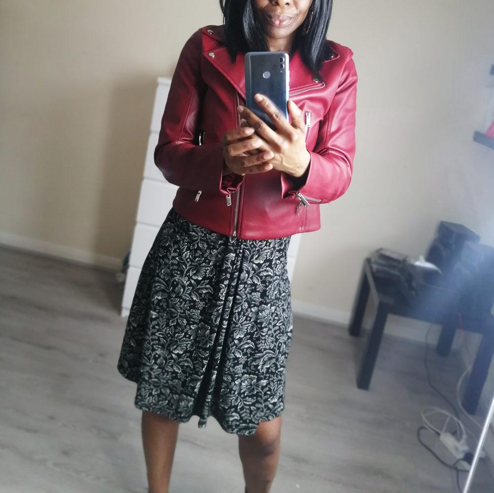 Red vegan biker jacket + print monochromatic dress = autumn style goals. Shop online>  #style #fashion #blogger