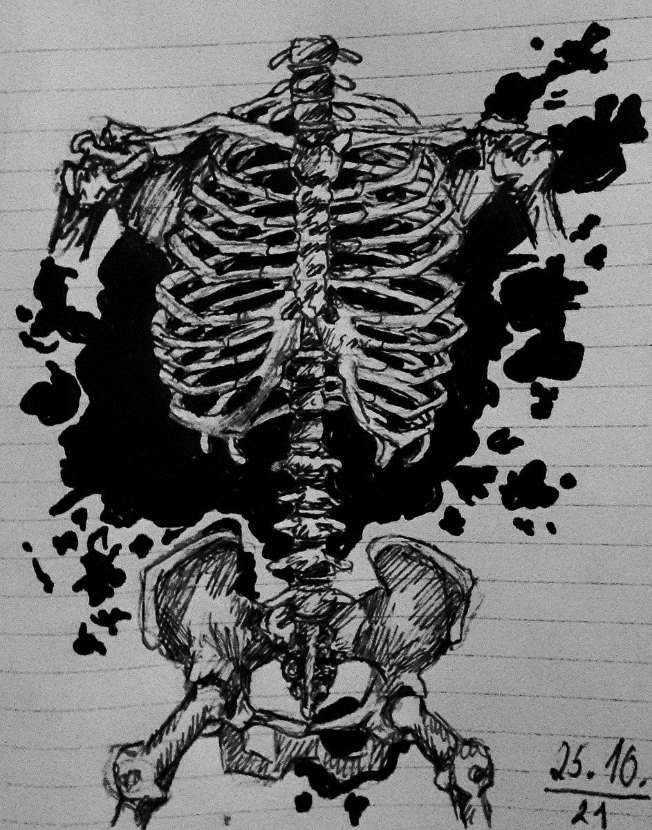 Day 25 - 🦴splat🦴  Tags:  #inktober #inktober2021 #inktober2021splat #inktober2021day25 #skeleton #splat #drawingchallange #drawing #sketch #sketch_daily #blackwork #blackandwhite #black #bones