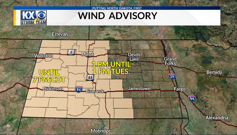 UPDATED Wind Advisory! Several counties in central ND were added and extended into Tuesday.  The WIND is here to stay for a while! #ndwx 🌬