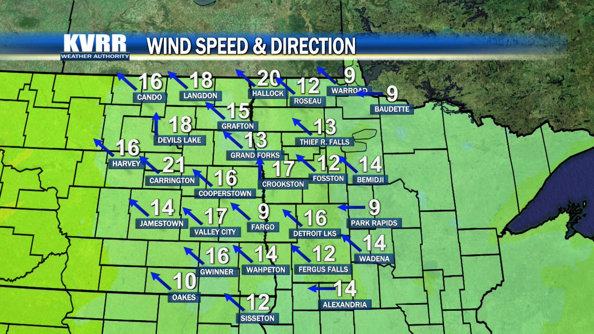 Wind speeds are steadily climbing in North Dakota.  You can expect a strong breeze well into Tuesday with some rain to follow.  Get a look ahead at .  #ndwx #mnwx