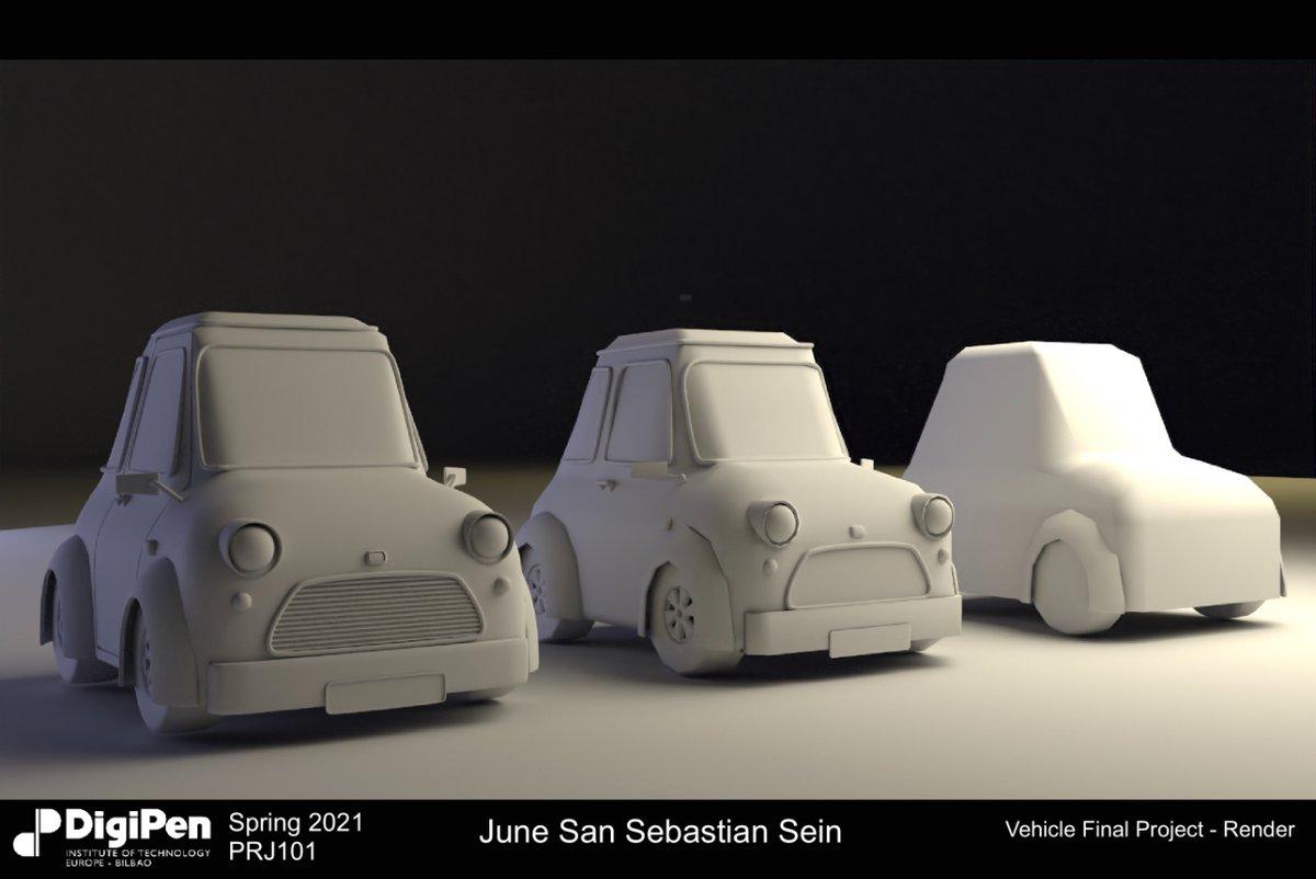 3️⃣ estados diferentes en el proceso de creación de un modelo de coche en 3D. Un trabajo de la alumna June San Sebastián.  #artist #digitalartist #digitalart #artedigital #visdev #visualdevelopment #animacion3D #inspiration #inspiracion #DigiPen #3Dcar #coche3D