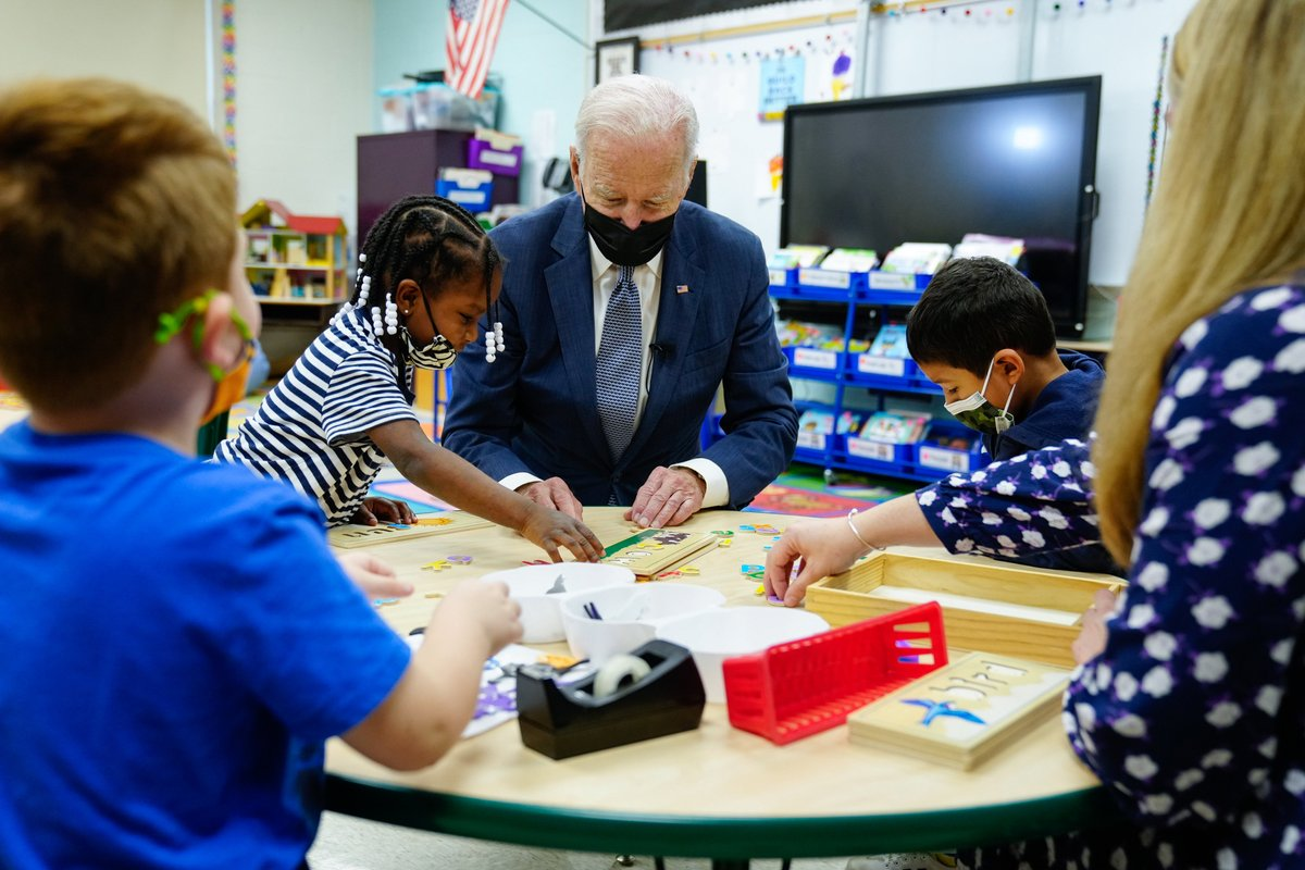 Studies show that the earlier our children begin to learn in school, the better. That's why we're going to make two years of high-quality preschool available to every child. I stopped by East End Elementary School to discuss how my Build Back Better Agenda will get it done. https://t.co/sJkRPd5Joj