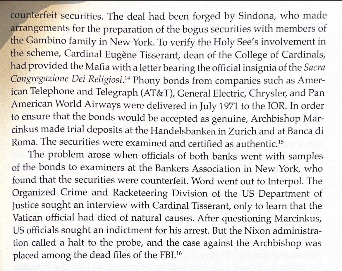 """A plan """"to sell a $1B in counterfeit securities."""" This particular plan was foiled in 70s, but how many of our current financial crisis could it explain?   Enron/Private Equity BuyOuts/2008 BailOut/Overinflated SiliconValleyIPOs/HedgeFunds/WallStreet out of touch w/MainStreet?"""