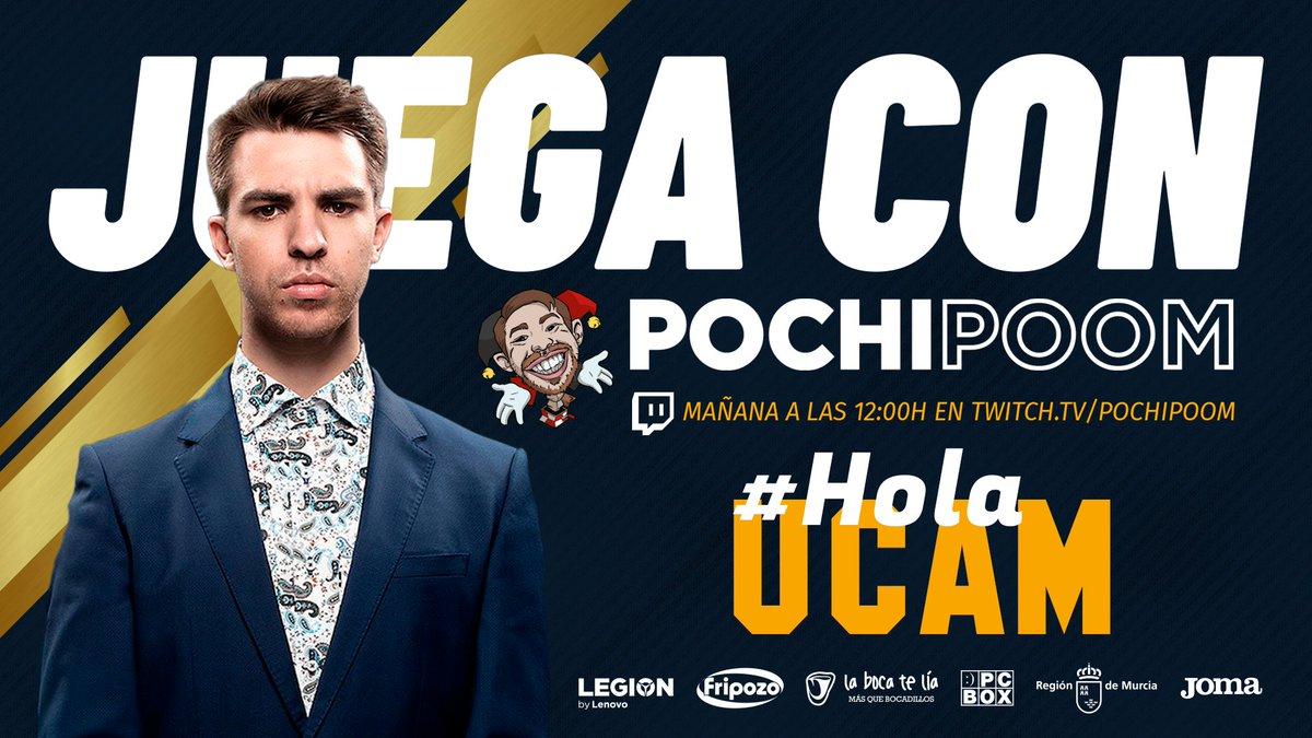 Mañana estaremos dando la bienvenida a los universitarios en el campus de @UCAM. Ven a nuestro stand para jugar con @PochiPoom de manera online. 📺 Síguelo en Twitch.tv/pochipoom #UCAMStars #HolaUCAM #GoUCAM 👊