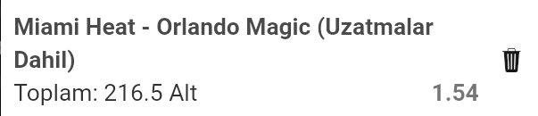 🇺🇲 #NBA75   🏀Miami Heat - Orlando Magic Toplam sayı 216.5 alt (1.54)