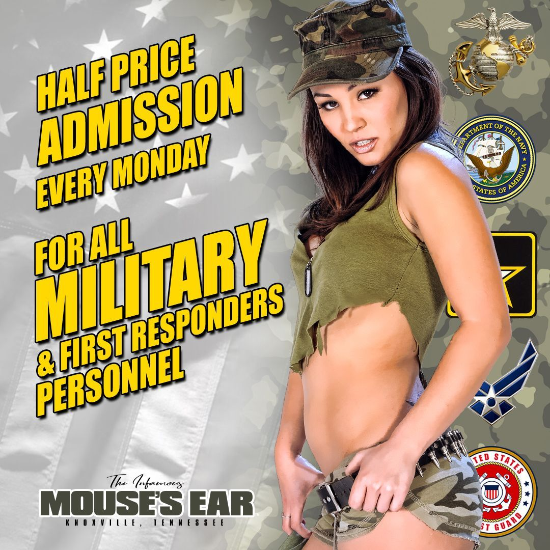 We love our heroes! Half price admission EVERY MONDAY for all Military and First Responders. We promise you'll be at full salute playing with us. 😘 . . . #MilitaryMonday #fullsalute #saluteinmyshorts #merica #mondayfunday #sexy #mousesear #knoxville #stripjoint