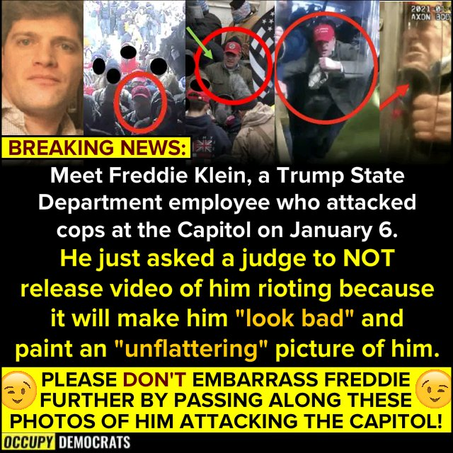 #LockThemAllUp coup Donald Trump jr. Ted Cruz Josh Hawley   'Please don't embarrass Freddie further by passing along these photos of him attacking the Capital'