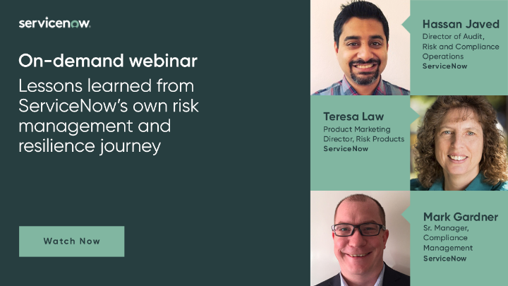 View this webinar where our panel of experts discuss ServiceNow's risk and resilience management journey. Learn best practices as they provide insights and recommendations for successful GRC, business continuity and vendor risk management implementations. https://t.co/Wm0kJo7nyq https://t.co/WrOfHIy5Dz