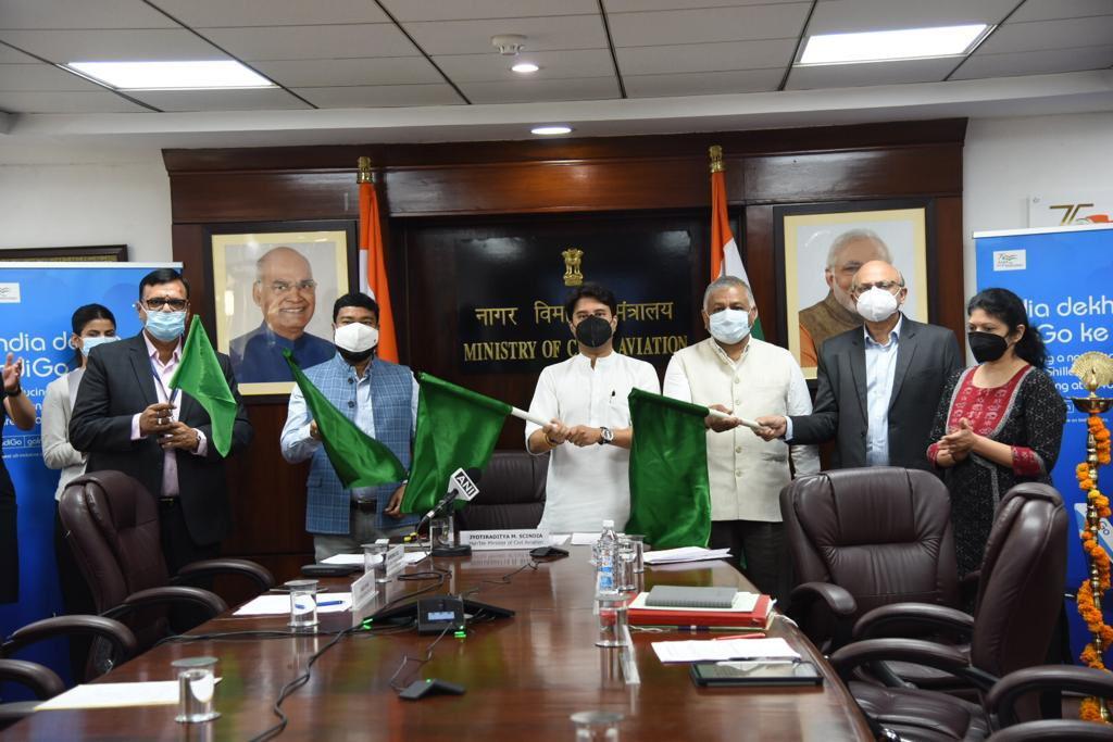 नागरिक उड्डयन मंत्री ज्योतरादित्य सिंधिया ने शिलांग-डिब्रुगढ मार्ग पर सीधी उडान को वर्चुअल माध्यम से झण्डी दिखाई