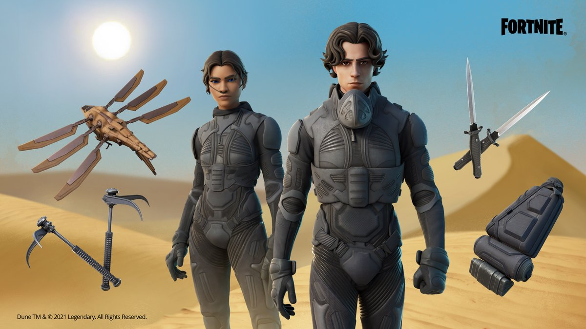 There's no spice on the Island, but thankfully that also means no sandworms.   There is, however, Paul Atreides and Chani Outfits– still in the Shop!