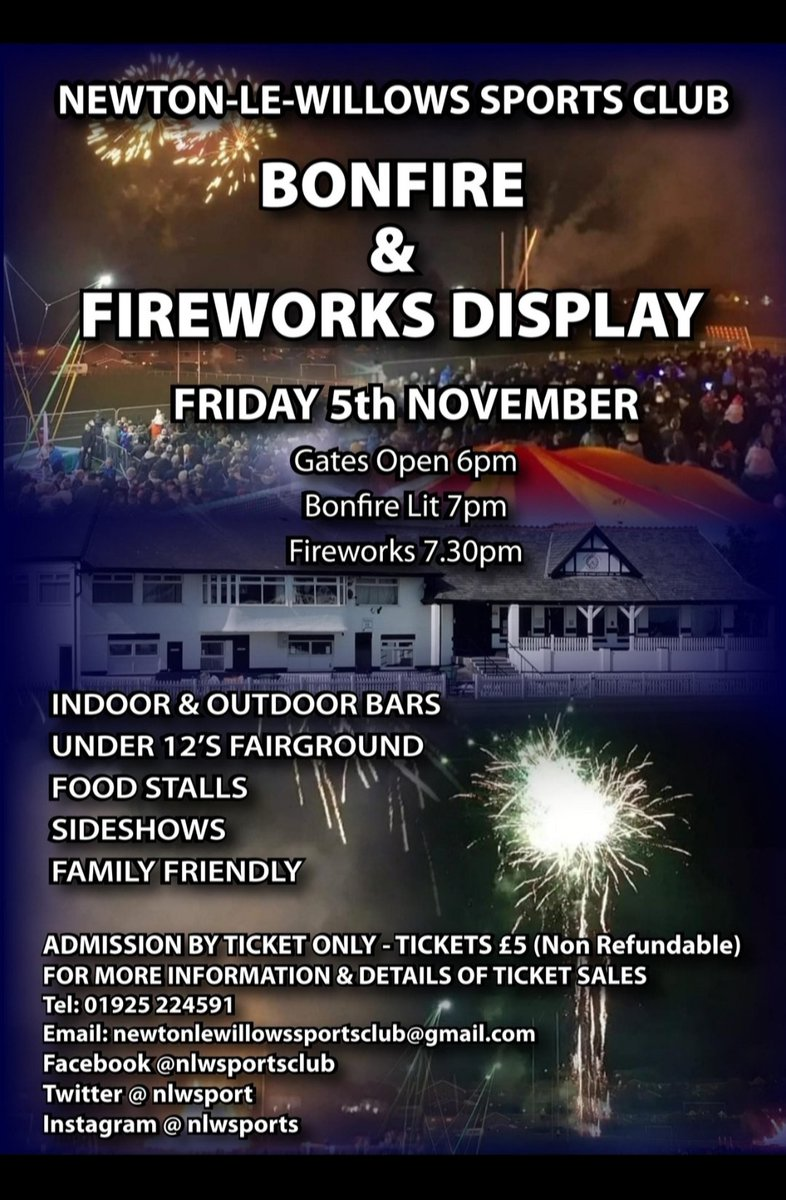 Open tonight from 6pm for ticket sales  Dont forget you can also buy from @shabbyfreakhome Town Furnishings  Riley's Ices  #BonfireNight  #notlongnow