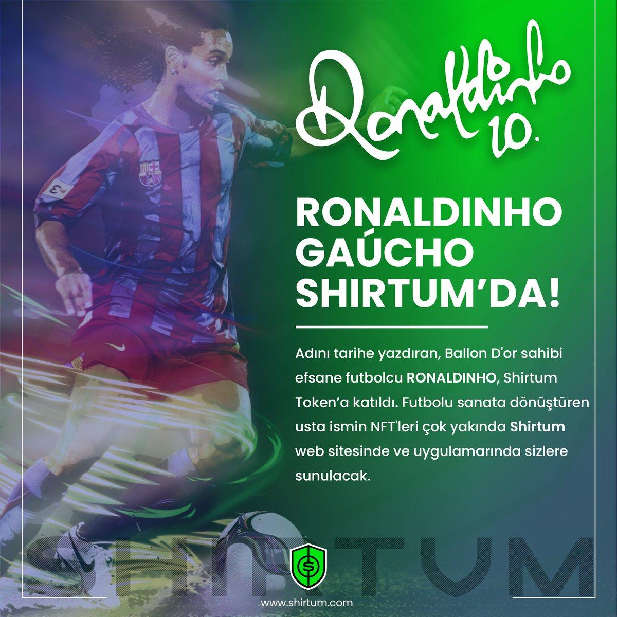 Ronaldinho @10Ronaldinho Shirtum'da!  Adını tarihe yazdıran, Ballon D'or sahibi efsane futbolcu RONALDINHO, Shirtum $SHI Token'a katıldı. 💪  🌐 Satın Almak İçin ⤵️ pancakeswap.finance/swap?outputCur…  👥 Telegram ⤵️ t.me/ShirtumTurkey  #Ronaldinho #NFT #fcbarcelona #Shirtum