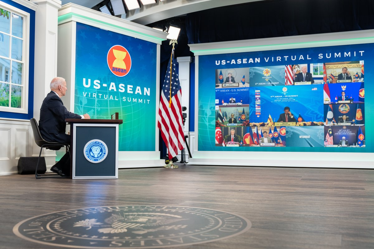 Today, I participated in the annual U.S.-ASEAN Summit, where I discussed our commitment to strengthening our partnership with ASEAN. We will continue to work together to end the COVID-19 pandemic, address the climate crisis, promote economic growth, and more. https://t.co/VywnjFZQ1d