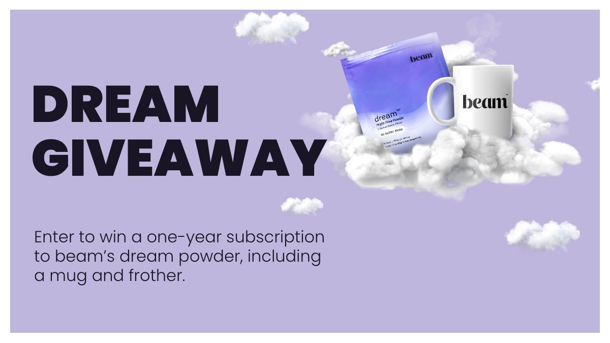 Win a year's supply of beam's dream powder, a delicious cup of cocoa with nano hemp, reishi, magnesium, l-theanine, and melatonin.   It's triple-lab tested and contains no artificial sweeteners. Sweet dreams.  Enter here: woobox.com/t2k2fr