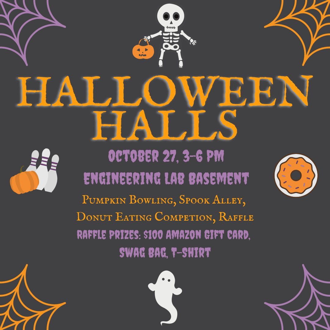 @USUAggies engineering students make sure you don't miss out on tomorrow's Halloween party from 3-6 p.m. in the engineering lab basement. Join E-Council for pumpkin bowling, a spook alley, a donut eating contest, and a raffle for a $100 Amazon gift card, a swag bag, & a t-shirt. https://t.co/5hZU5g9e4F