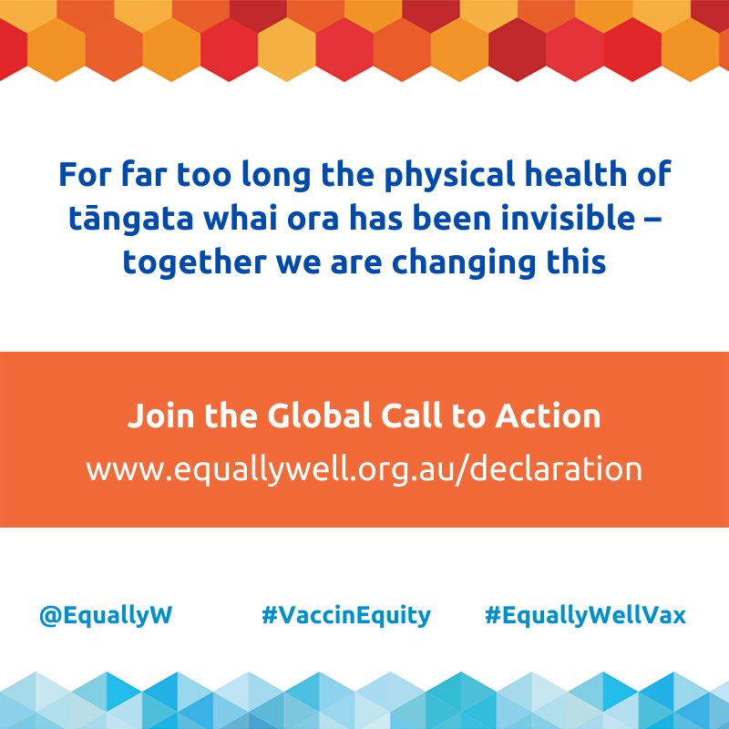 Join the global call for vaccine equity for people living with mental health & addiction issues  @DRIVEsayshello @TePouNZ @PlatformTrust @ranzcp_nz @nzdrug @dapaanz @nznep @EquallyWellUK @EquallyWell_AU @LiviaDePicker @changingmindsnz sign up at equallywell.org.au/declaration/