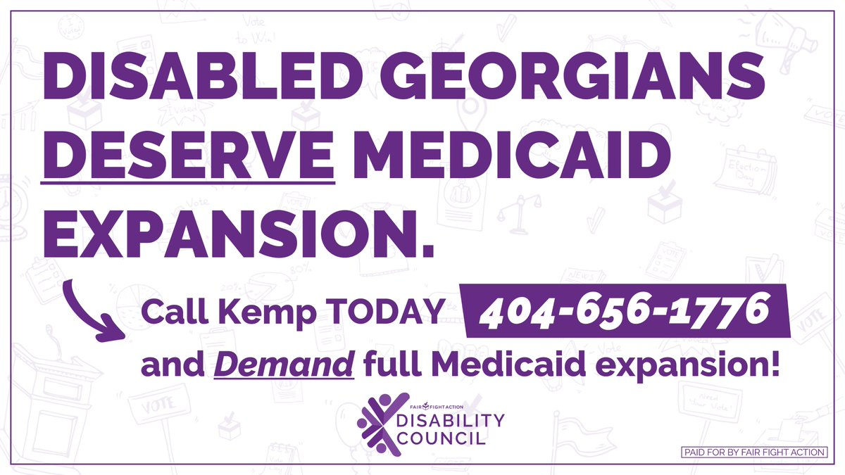 6k disabled Georgians are waiting for Home and Community Based Services vouchers, and @BrianKempGA could potentially eliminate that list with full Medicaid expansion. Call 404-656-1776 and tell him that Medicaid expansion can't wait. #CripTheVote #GaPol #HCBS
