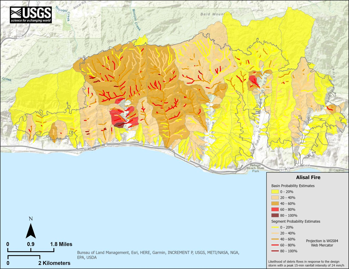 We've released a #debrisflow hazard map for the Alisal burn area that indicates a moderate level of debris- flow hazard in most of the area burned by the Alisal Fire. Debris flows can be hazardous to life and infrastructure. See https://t.co/lC5K3UujT1 … https://t.co/IIQrPIfO0L