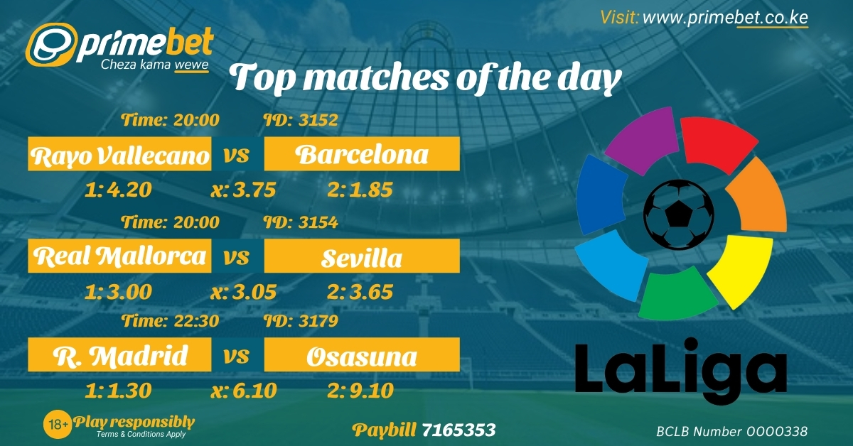 #LaLiga is on tonight with a number of great encounters.  Mallorca vs Sevilla, 8pm  Vallecano vs Barca, 8pm  Betis vs Valencia, 9pm  Real Madrid vs Osasuna, 10:30pm  What are your predictions?  Play LIVE on https://t.co/drndkszXPU https://t.co/HJPoMKTwgD