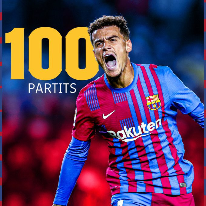 RT @barcacentre: Philippe Coutinho will play his 100th game for Barcelona tonight. [fcb] https://t.co/4UyWo0ROvz