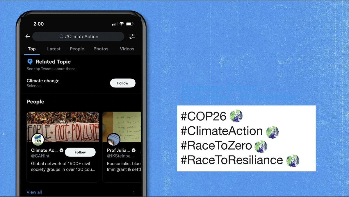 Twitter also shared some of the key hashtags that you can use during #COP26 (plus a sneak peek of their snazzy new hashtag emoji!) 👇🏾 https://t.co/T2x9HsH0Xv