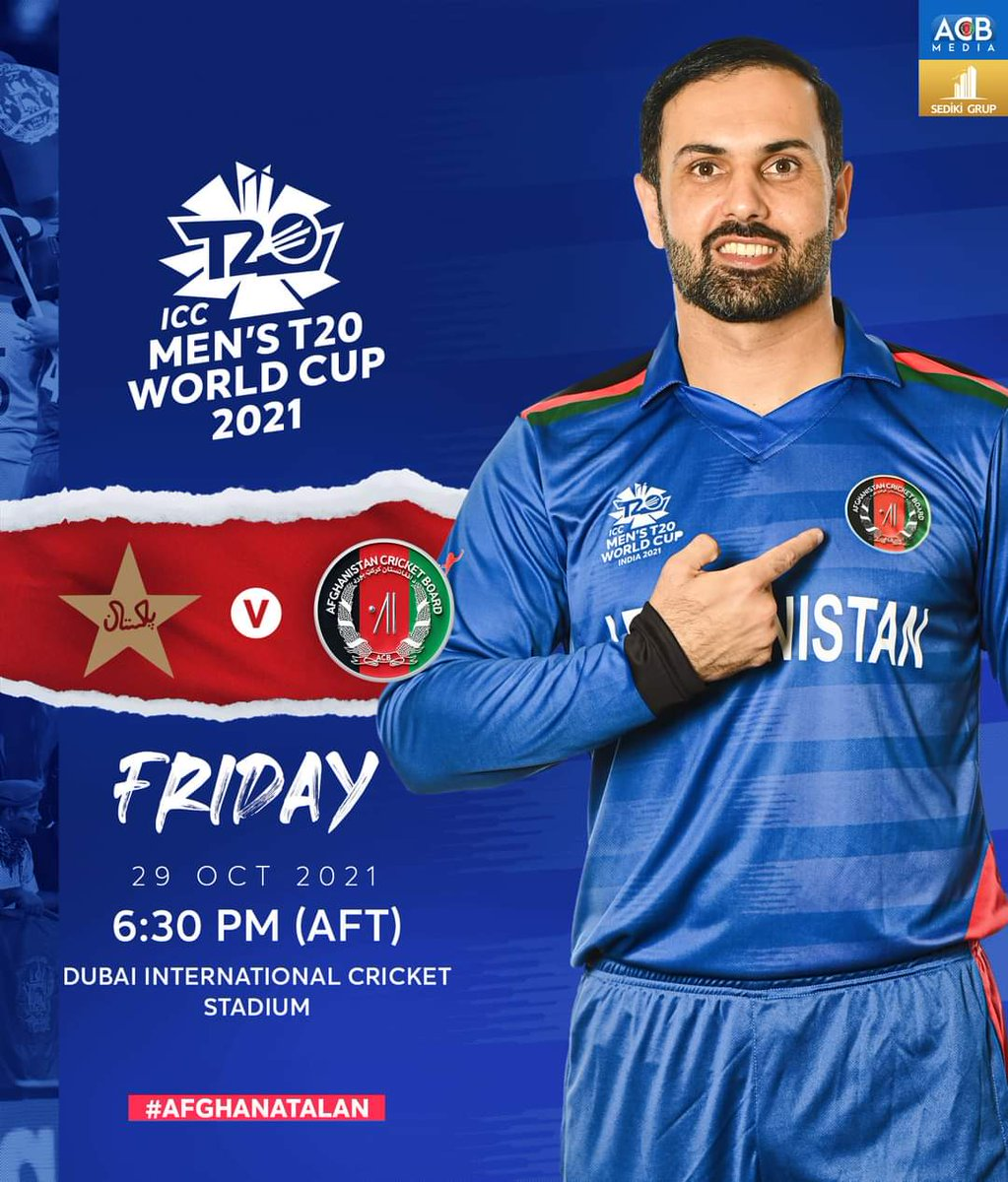 AfghanAtalan will be playing Pakistan in 2nd match of their ICC Men's T20 World Cup 2021 campaign this Friday. The contest will start at 6:30 AFT and will be played in Dubai Sports City. https://t.co/jBV3iXAFy1