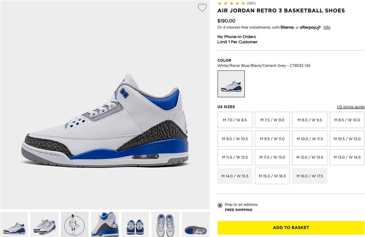 RT @SOLELINKS: Ad: RESTOCK via JD Sports Air Jordan 3 Retro 'Racer Blue' => https://t.co/WPxCXwCWi1 https://t.co/WAIK0mLG5P