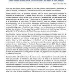 Image for the Tweet beginning: 📃[COMMUNIQUÉ] Le sujet des #violencesgynécologiques