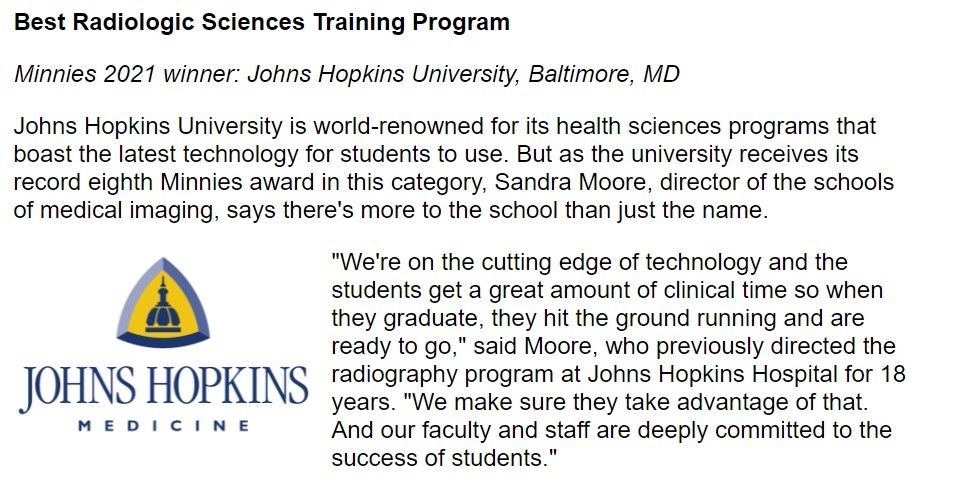 Congrats to our partner @JohnsHopkins for their @AuntMinnie win.